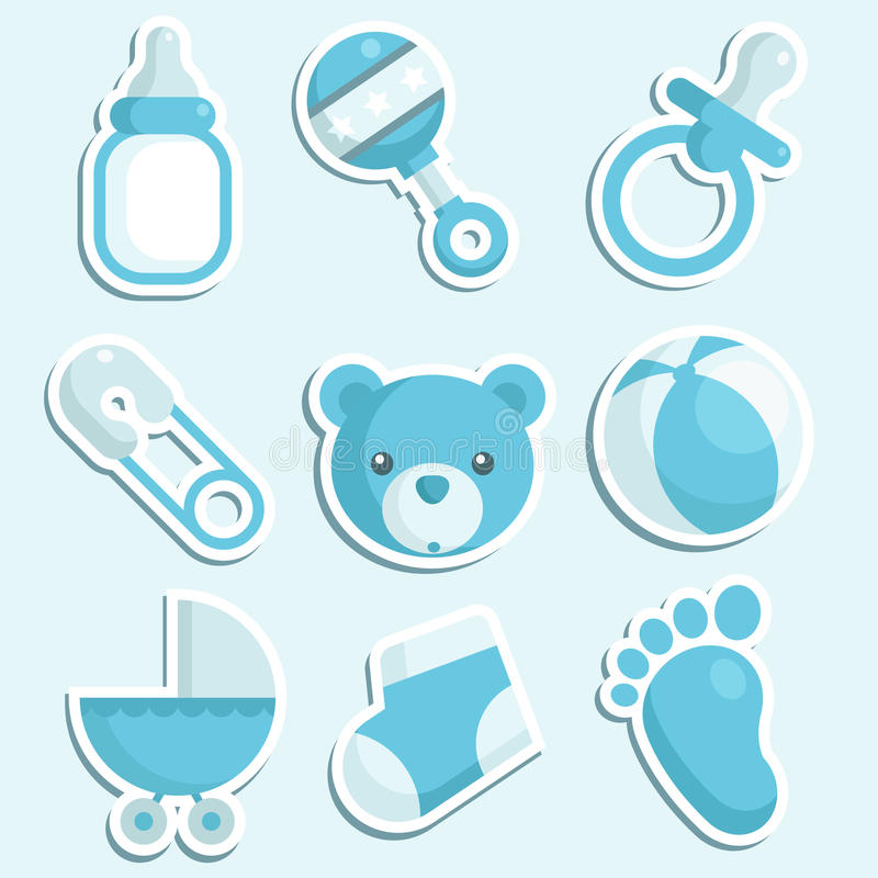 Ícones azuis do bebé ilustração do vetor