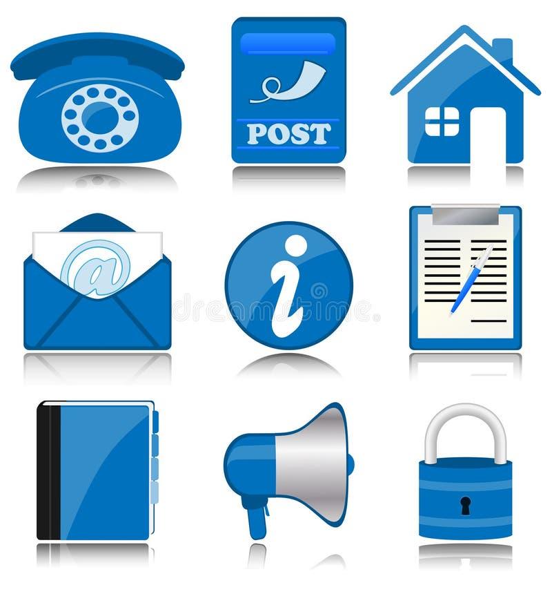 Ícones azuis do escritório ilustração do vetor