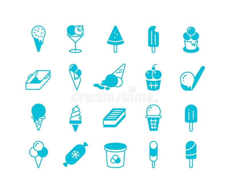 Ícones azuis do gelado Grupo liso simples de bolas congeladas do sorvete do parfait do iogurte Sobremesas frias do verão do vetor ilustração royalty free