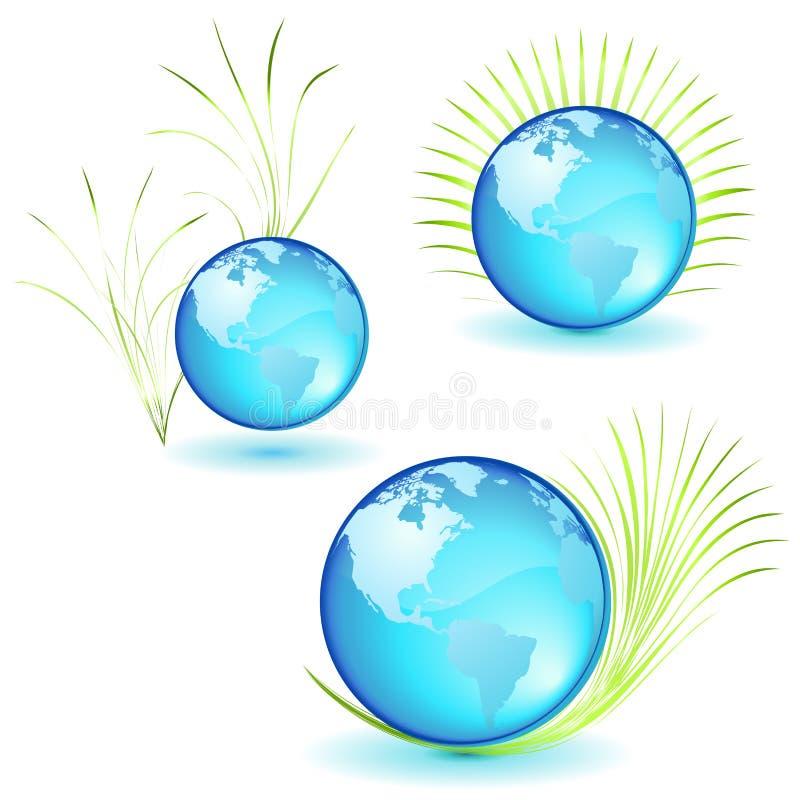 Ícones azuis do planeta ilustração stock