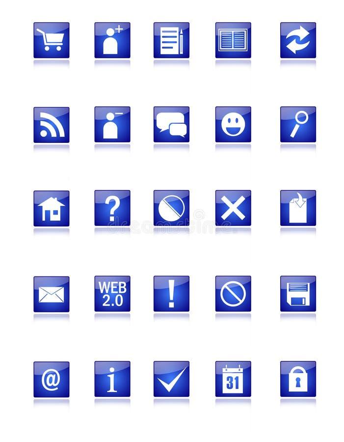 Ícones azuis do Web e do blogue ilustração do vetor