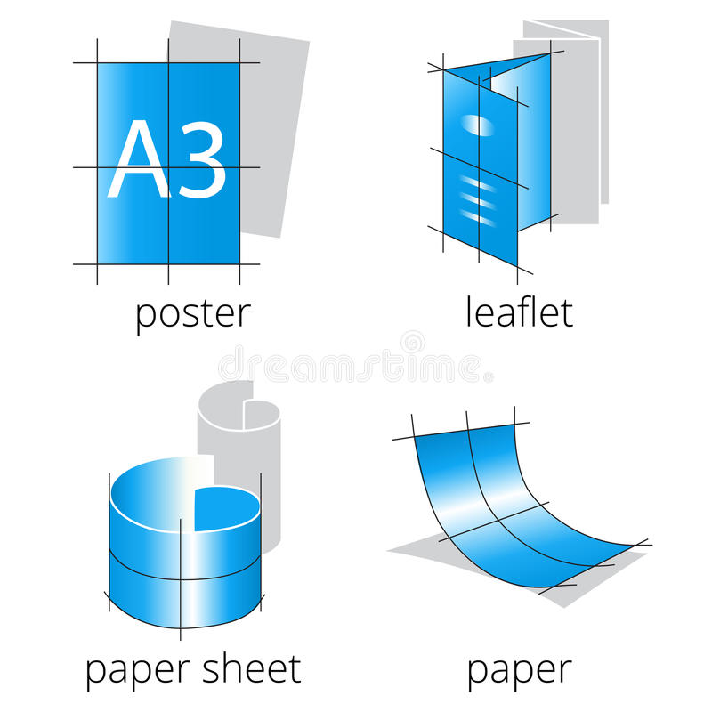 Ícones azuis dos serviços da loja de impressão ajustados Parte 1 fotografia de stock royalty free