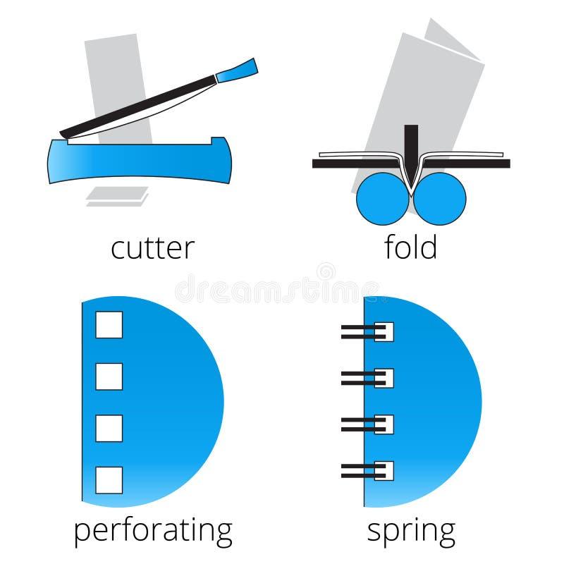 Ícones azuis dos serviços da loja de impressão ajustados Parte 7 fotos de stock royalty free