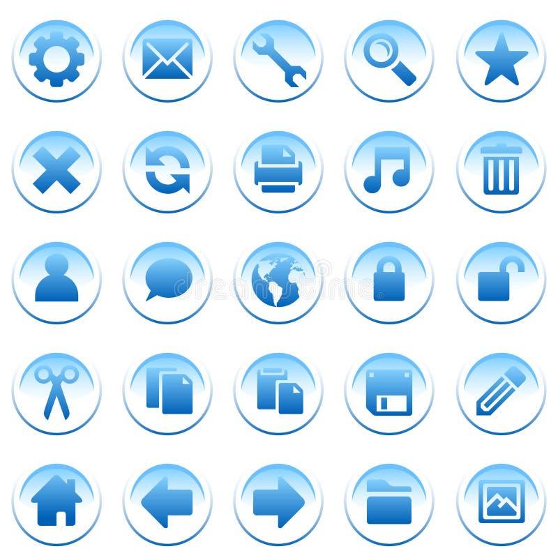 Ícones azuis redondos ilustração do vetor
