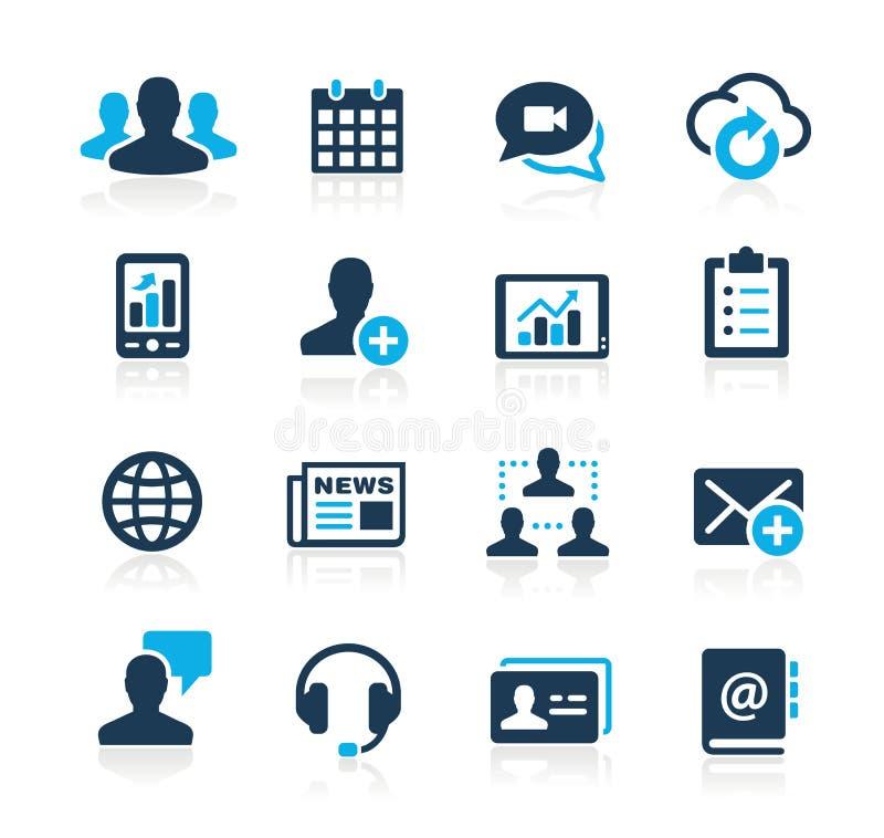 Ícones Azure Series da tecnologia do negócio ilustração royalty free