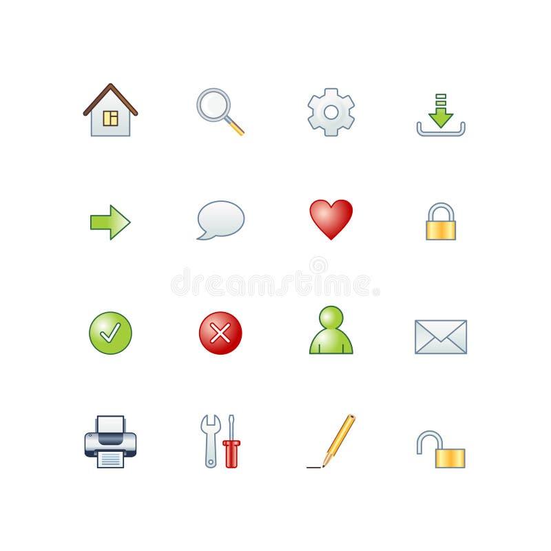 Ícones básicos do Web do projeto ilustração do vetor