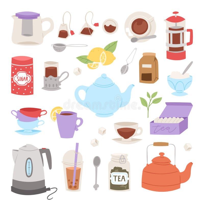 Ícones bebendo do procedimento do tempo do chá como preparar a chaleira tradicional do bule da instrução quente da bebida que coz ilustração do vetor