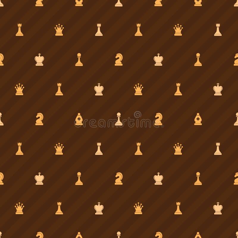 Ícones bege da xadrez no fundo marrom, teste padrão sem emenda ilustração royalty free