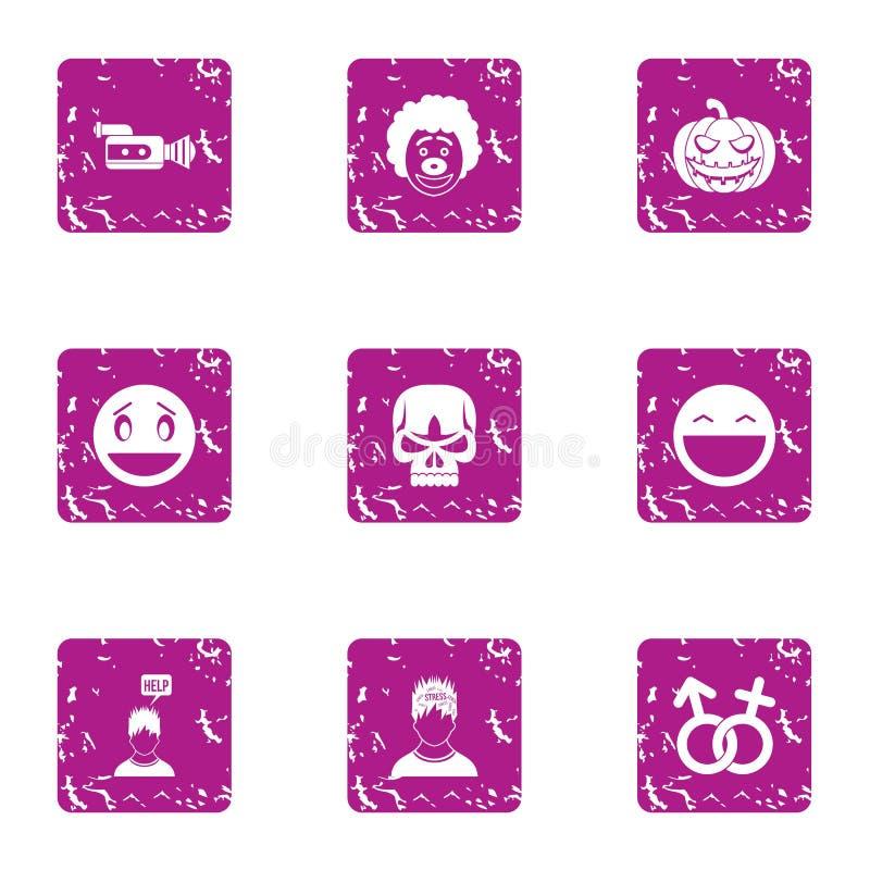 Ícones bem escolhidos pessoais ajustados, estilo do grunge ilustração royalty free