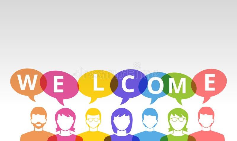 Ícones bem-vindos dos povos e bolhas coloridas do discurso ilustração stock