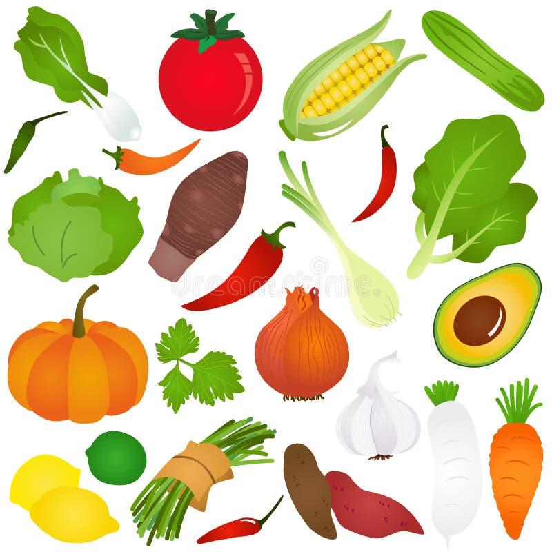 Ícones bonitos coloridos do vetor: Frutas, vegetal, f foto de stock