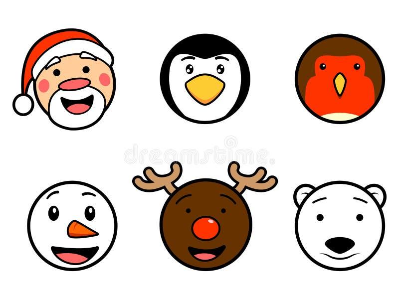 Ícones bonitos da cara do Natal ilustração stock