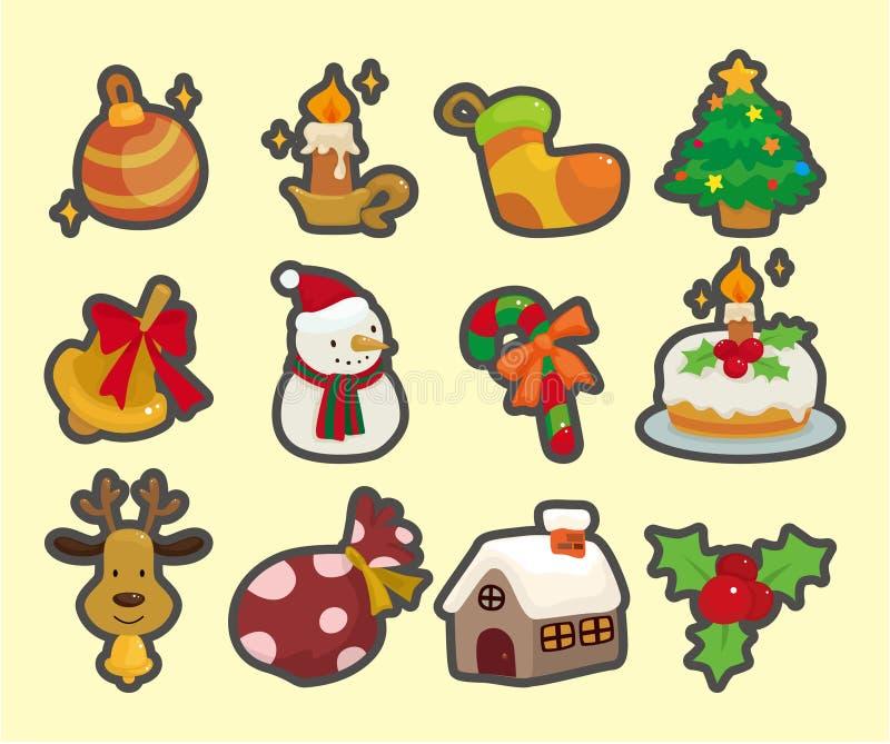 Ícones bonitos do elemento do Natal dos desenhos animados ilustração do vetor