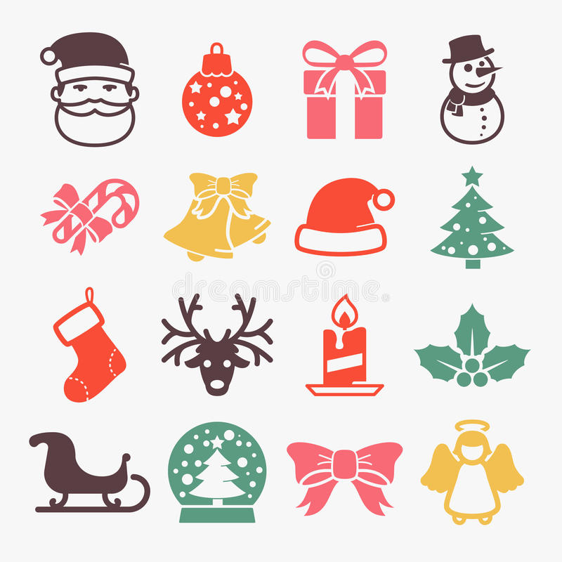 Ícones bonitos do Natal ilustração royalty free