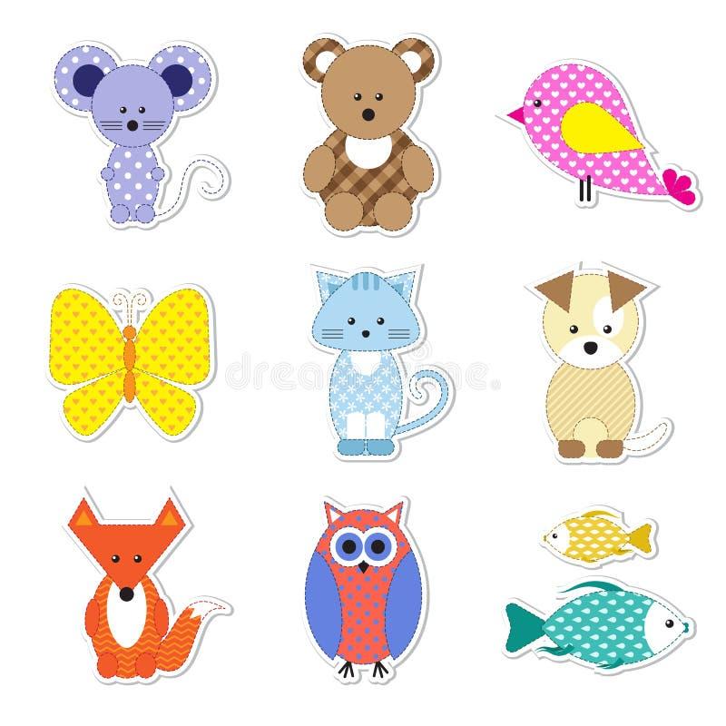 Ícones bonitos do vetor dos animais ilustração stock