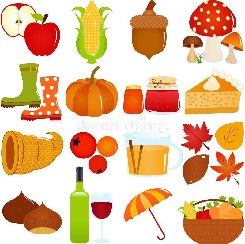 Ícones bonitos do vetor: Tema do outono/queda ilustração royalty free