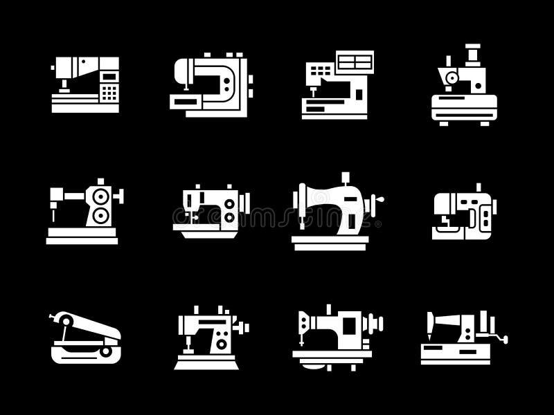 Ícones brancos da máquina de costura do estilo do glyph ajustados ilustração do vetor