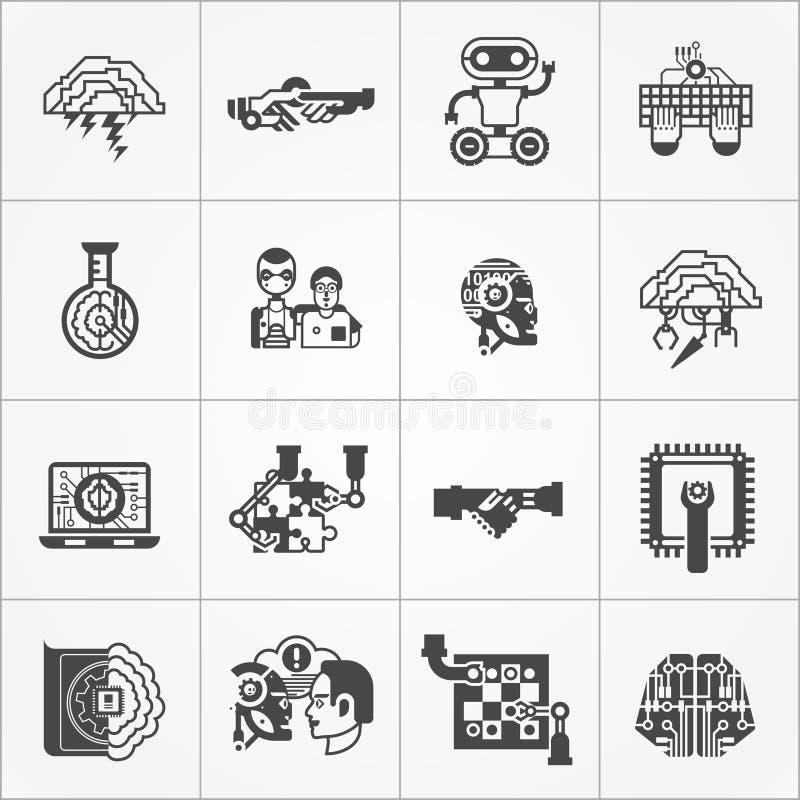 Ícones brancos do preto da inteligência artificial ajustados