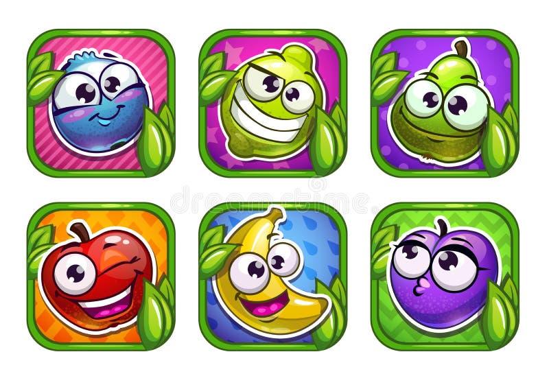 Ícones brilhantes do app dos desenhos animados com frutos e as bagas engraçados ilustração stock