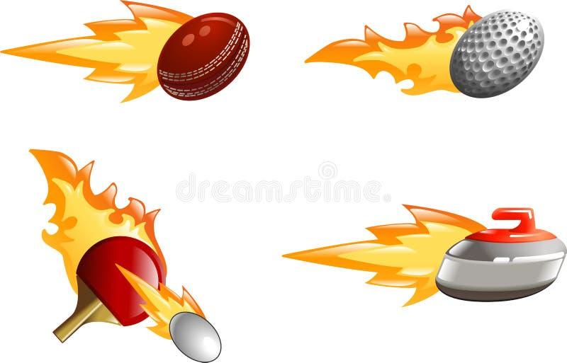 Ícones brilhantes lustrosos do esporte da flama ilustração royalty free