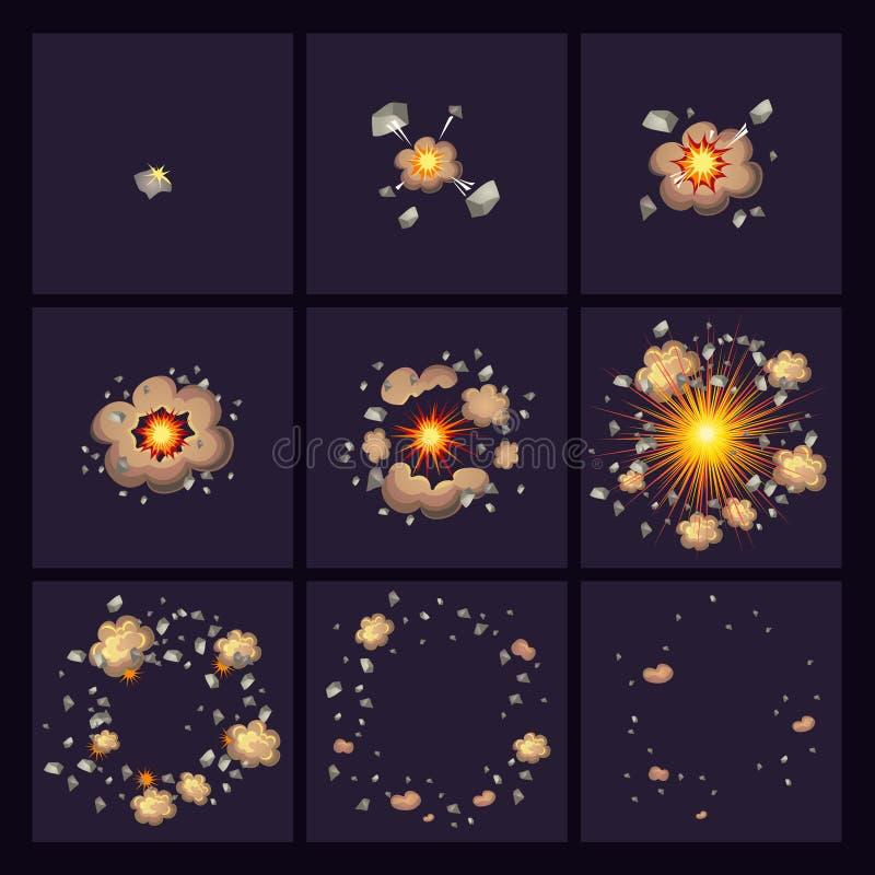 Ícones cômicos do estilo das explosões ilustração do vetor