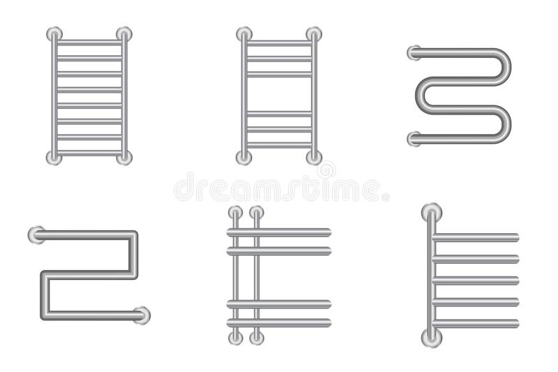 Ícones calorosos realísticos do radiador do trilho de toalha ou da bateria do aquecimento ajustados ilustração do vetor