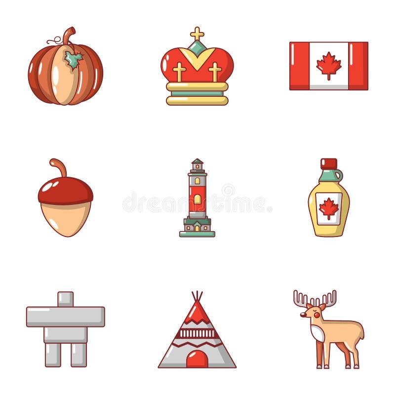 Ícones canadenses ajustados, estilo do estilo dos desenhos animados ilustração do vetor