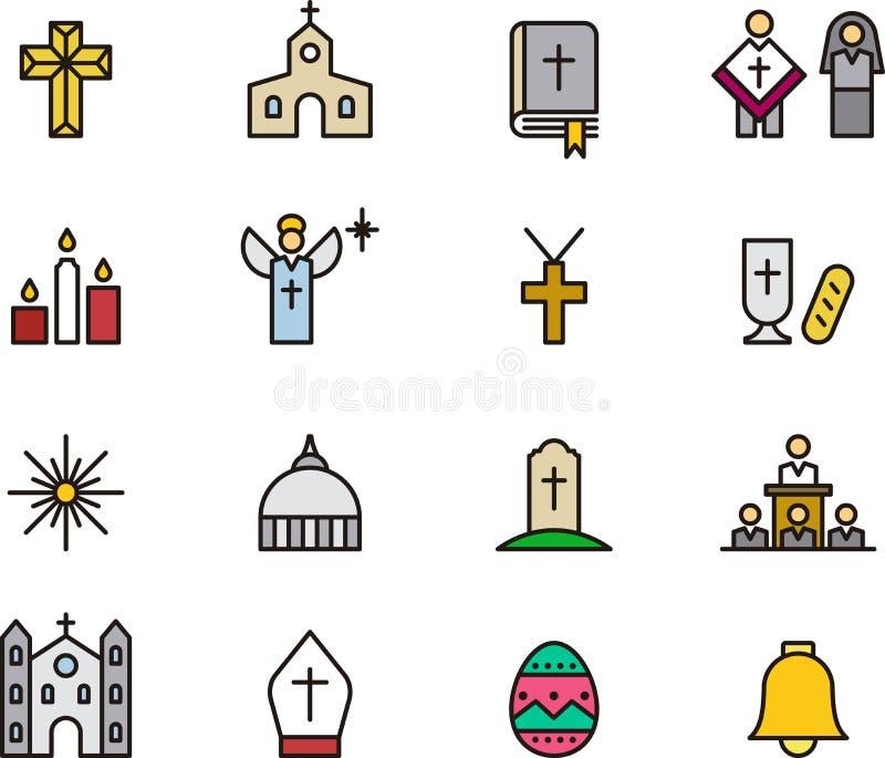 Ícones católicos da religião ilustração royalty free