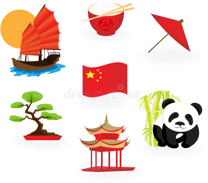 Ícones chineses. ilustração do vetor