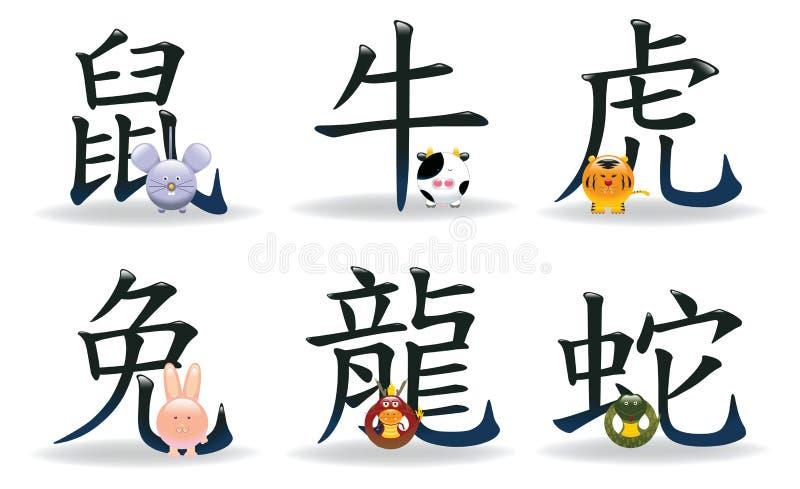 Ícones chineses 2 da astrologia do zodíaco ilustração do vetor