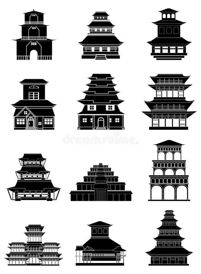 Ícones chineses antigos das construções ajustados ilustração royalty free