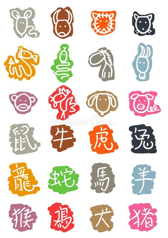 ícones chineses da astrologia ilustração do vetor