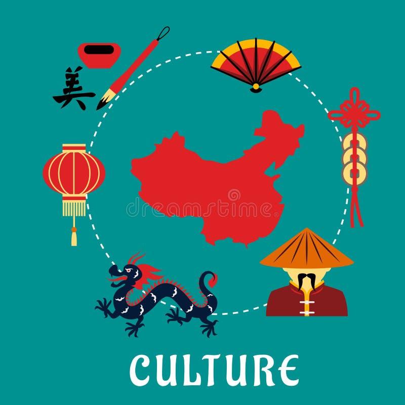 Ícones chineses da cultura em torno de um mapa ilustração do vetor
