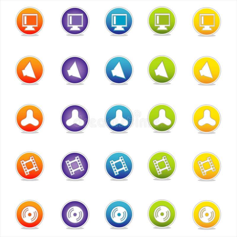 Ícones coloridos 6 do Web (vetor) ilustração stock