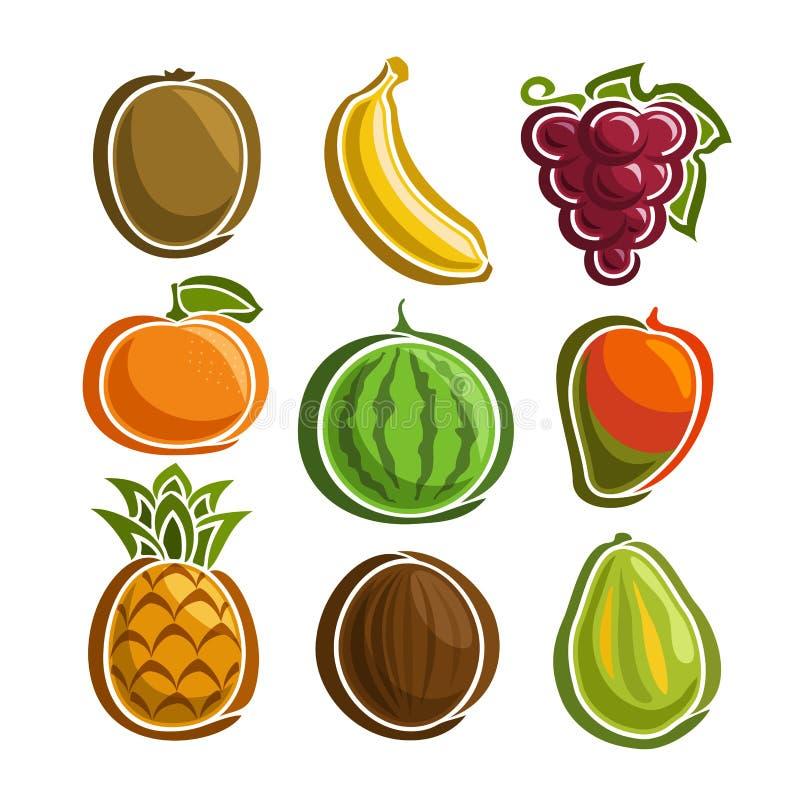 Ícones coloridos ajustados dos frutos do vetor ilustração royalty free