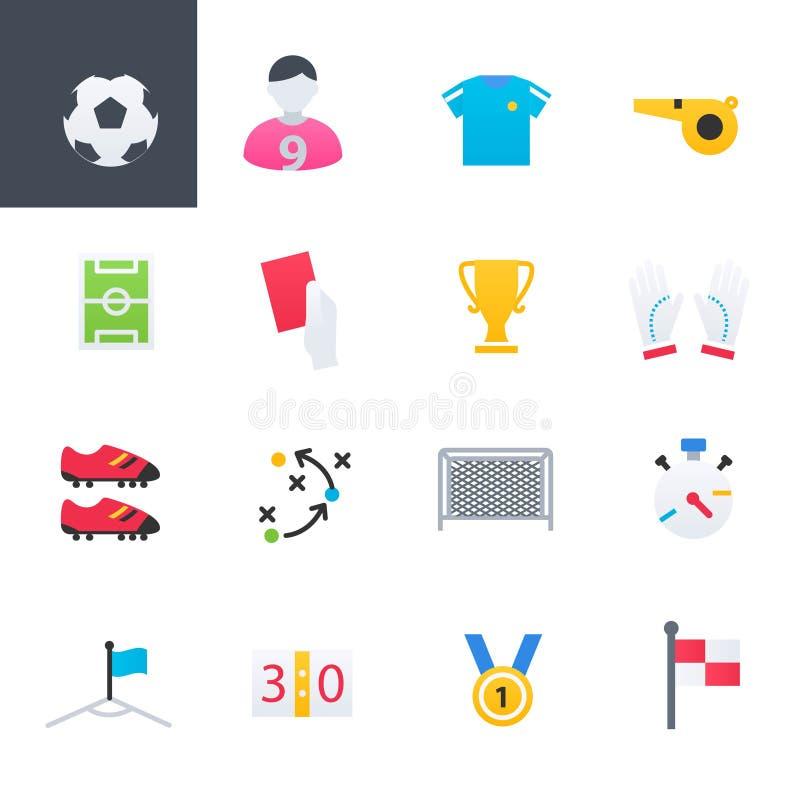 Ícones coloridos ajustados, projeto do futebol da ilustração do vetor ilustração royalty free