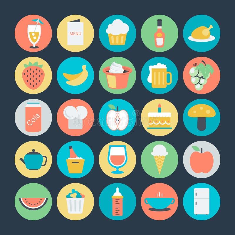 Ícones coloridos alimento 8 do vetor ilustração stock