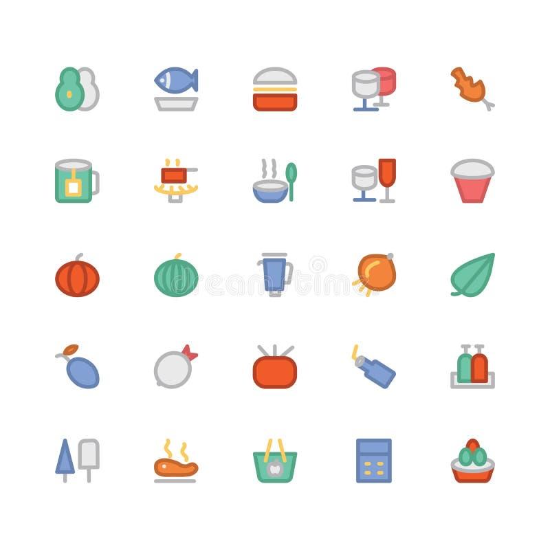Ícones coloridos alimento 5 do vetor ilustração do vetor