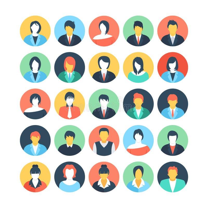 Ícones coloridos Avatars 2 do vetor dos povos ilustração stock