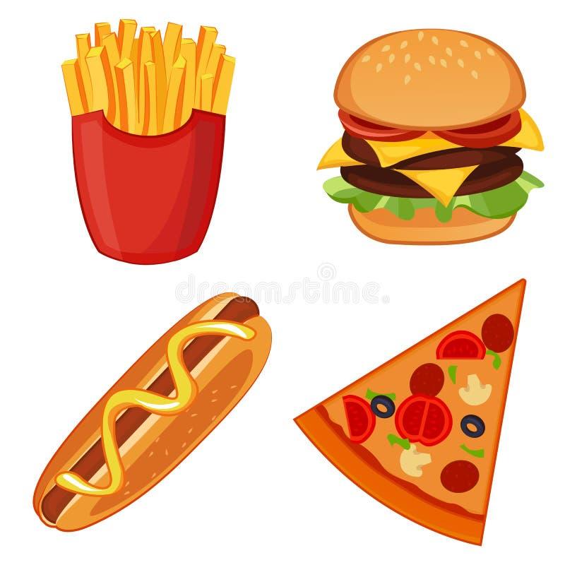 Ícones coloridos com grupo isolado refeições do fast food ilustração royalty free