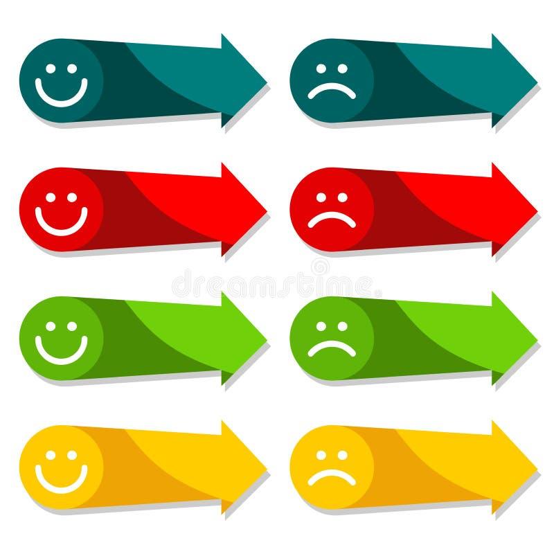 O ícone colorido da seta ajustou-se com smiley, infograp da Web ilustração do vetor