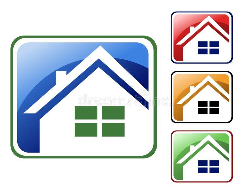 Ícones coloridos da casa ilustração royalty free