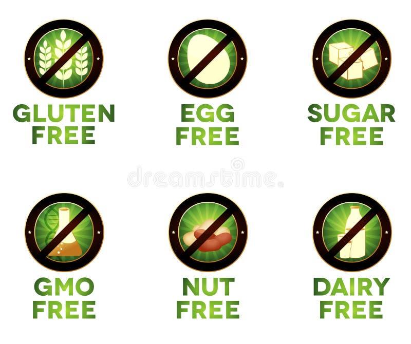 Ícones coloridos da dieta, intolerância do alimento ilustração do vetor