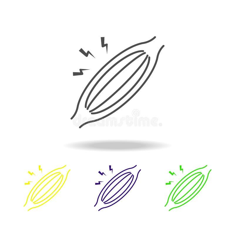 ícones coloridos da dor de músculo O elemento da dor de corpo humano pode ser usado para a Web, logotipo, app móvel, UI, UX ilustração stock