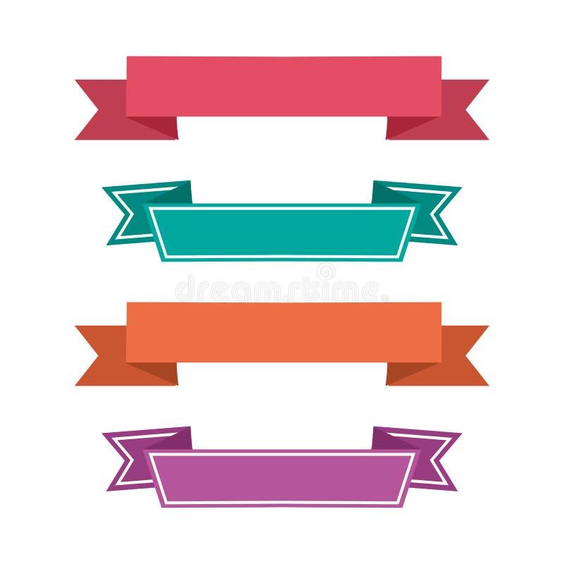 Ícones coloridos da fita Bandeiras das fitas Vetor ilustração royalty free