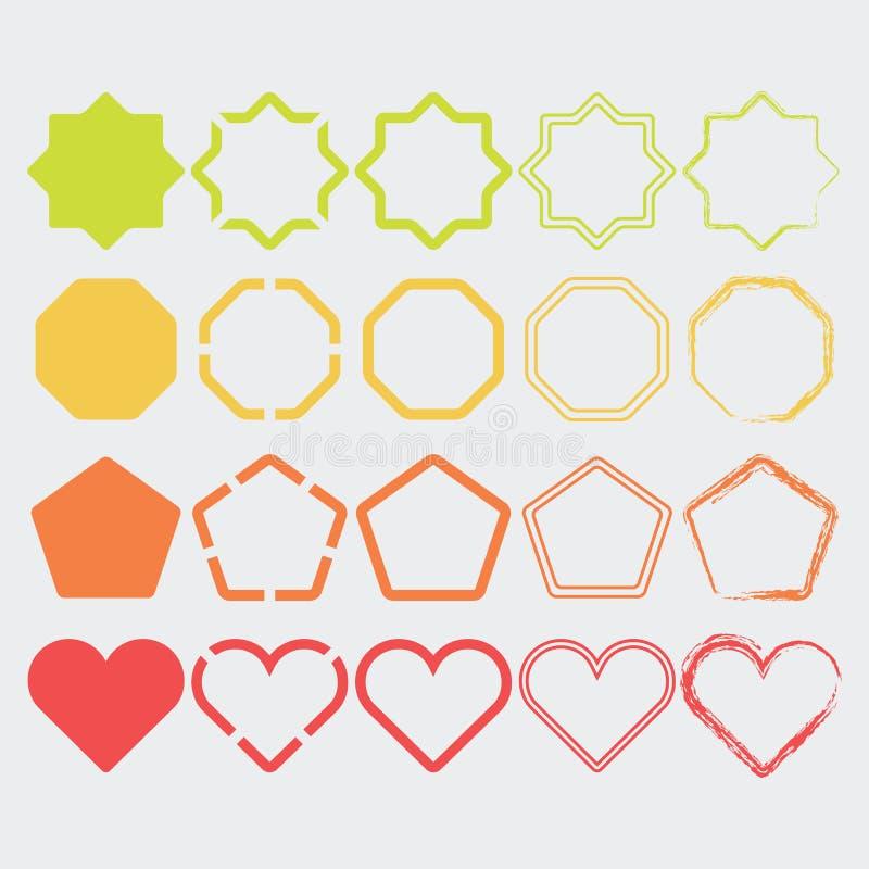Ícones coloridos da forma em cores diferentes e projetos ajustados ilustração stock