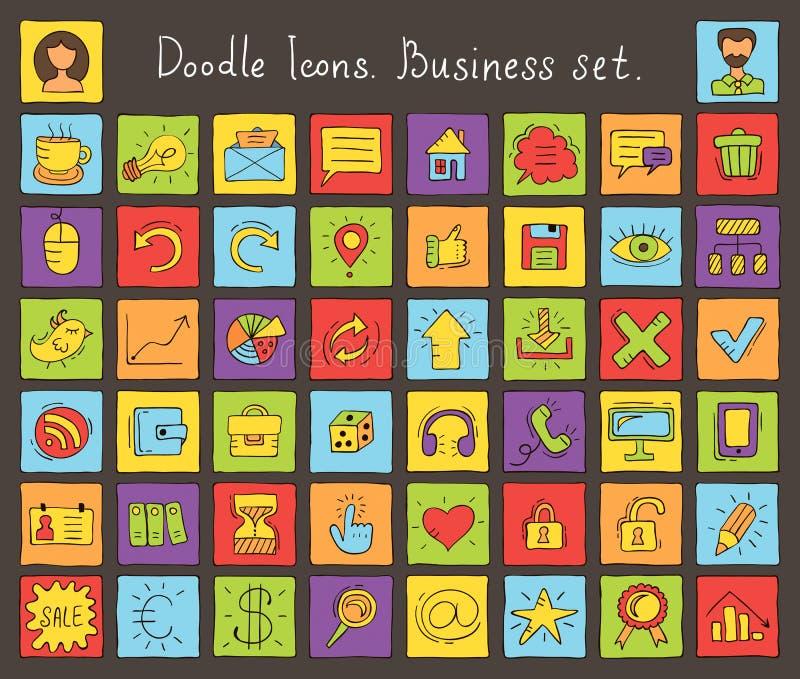 Ícones coloridos da garatuja. Grupo do negócio ilustração royalty free