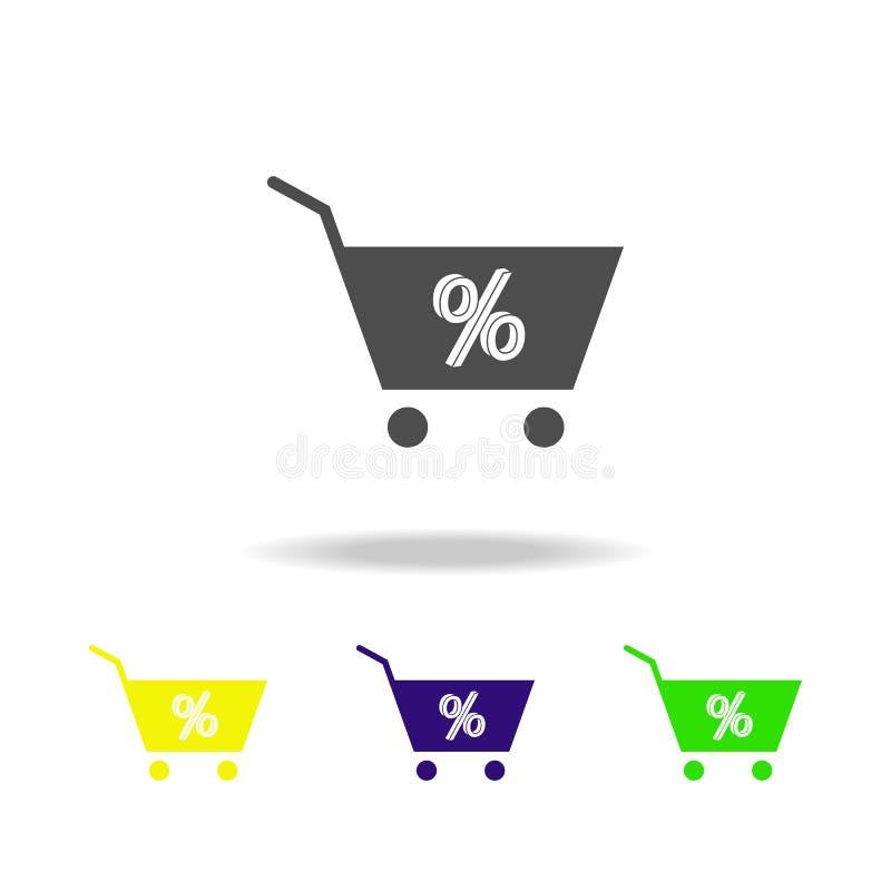 ícones coloridos da porcentagem da cesta Elemento do ícone popular da venda Ícone superior do esboço do projeto gráfico Sinais e  ilustração do vetor