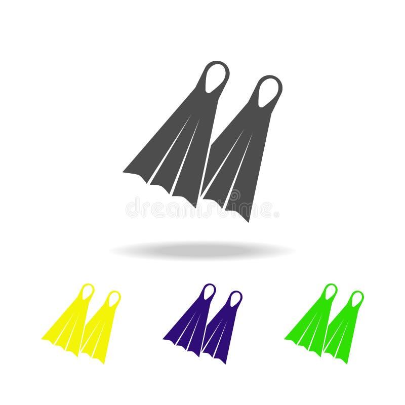 ícones coloridos das aletas O elemento de ícones coloridos dos feriados da praia pode ser usado para a Web, logotipo, app móvel,  ilustração do vetor