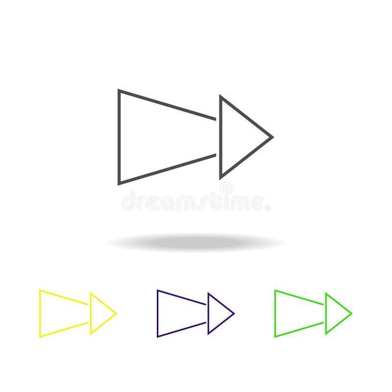 ícones coloridos de diminuição da seta Linha fina ícone para o projeto do Web site e o desenvolvimento do app Ícone colorido supe ilustração stock